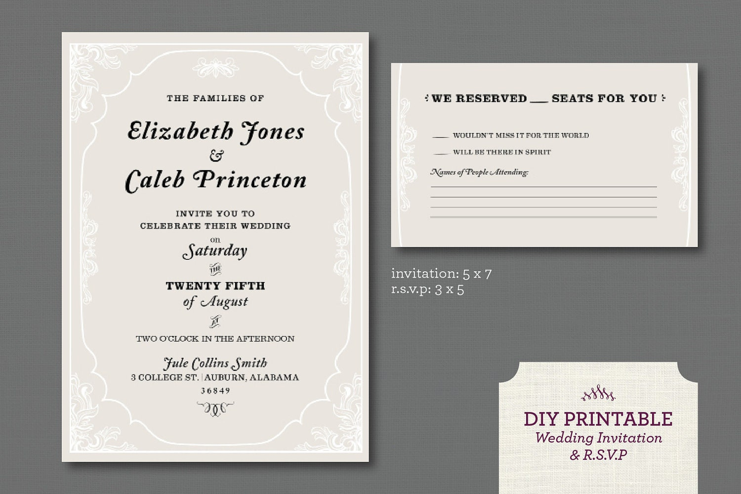 What Needs To Be Included In A Wedding Invitation: Printable Wedding Invitation And R.S.V.P By