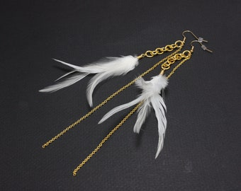 White  Dangle Feather Earrings with Two Layers of Gold Chaining 7 inches long