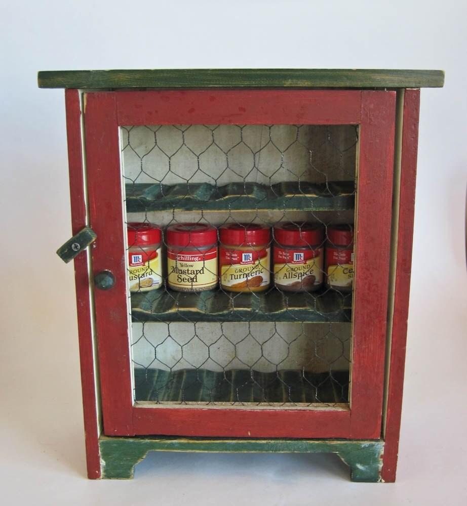 Rustic Kitchen Spice Cabinet With Chicken Wire 12 X 13 X 5
