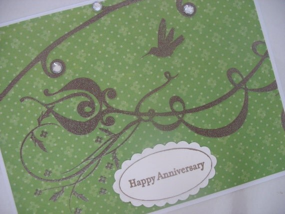 Green HAPPY ANNIVERSARY Glitter Card with Bird and Scrolls