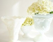 RESERVED FOR EVIE Milk Glass Compotes, Vintage Winter White Wedding Decor,  Cottage Chic Table Settings