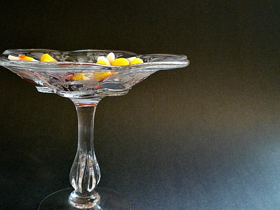 Vintage Glass Compote / Etched Pedestal  Candy Bowl