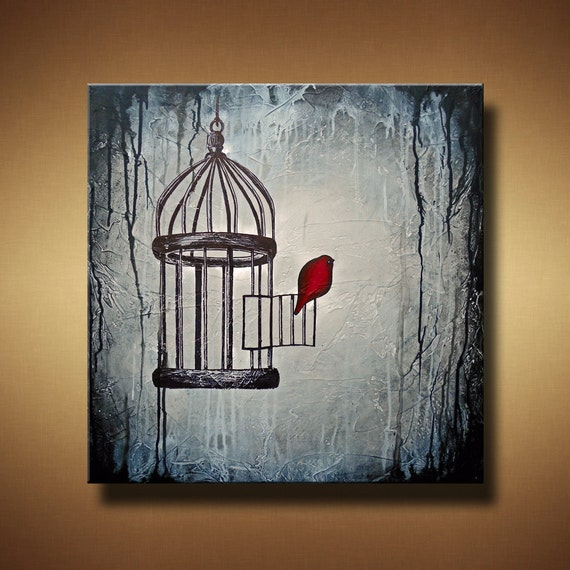 Bird Escaping Birdcage Original Painting -- 24 x 24 --  Heavily Textured -- The Hush of Mercy Breathing -- by Britt Hallowell