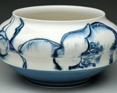 Bowl: Medium Handmade Blue and White Porcelain Mixing/ Serving Bowl with Floral Design