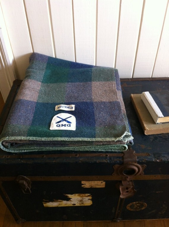RESERVED FOR ALBAN - rustic wool camp blanket -  small