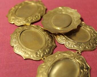 Five Heavy vintage brass cobochons