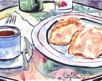 Watercolor Painting - Parisian Cafe Art, Coffee and Crepes at Outdoor Cafe Watercolor Print, 8x10