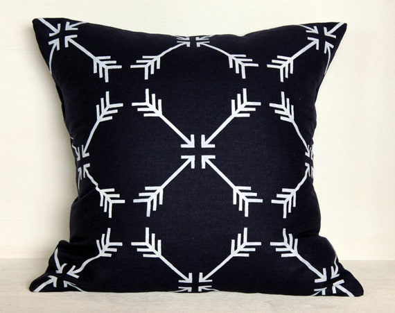 Navy Hand Stenciled Linen Pillow Cover