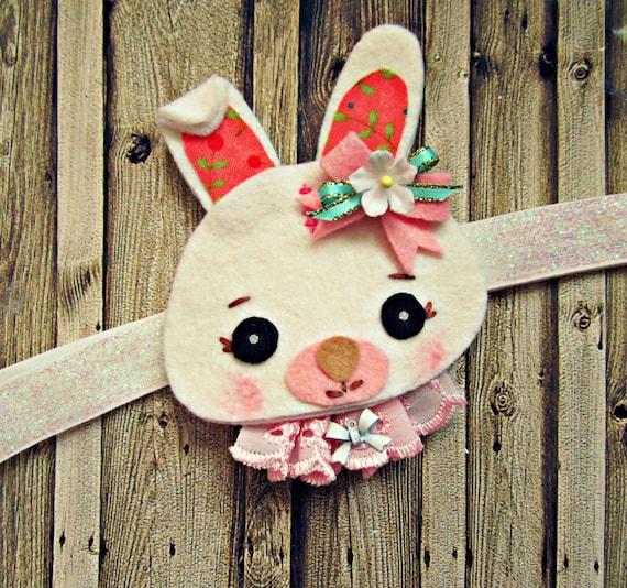 Felt Headband- Bunny Headband with vintage millinery flowers, woodland