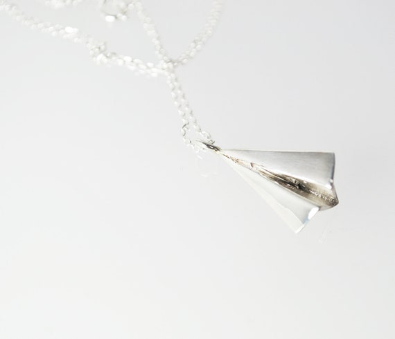 airplane necklace-sterling silver-free shipping