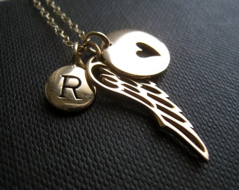 Remembrance necklace, memorial gift, personalized angel wing necklace, loss of loved ones, miscarriage
