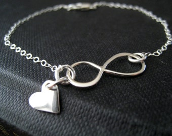 Super Dainty infinity bracelet, infinity heart bracelet, sterling silver tiny heart, gift for daughter, gift for children