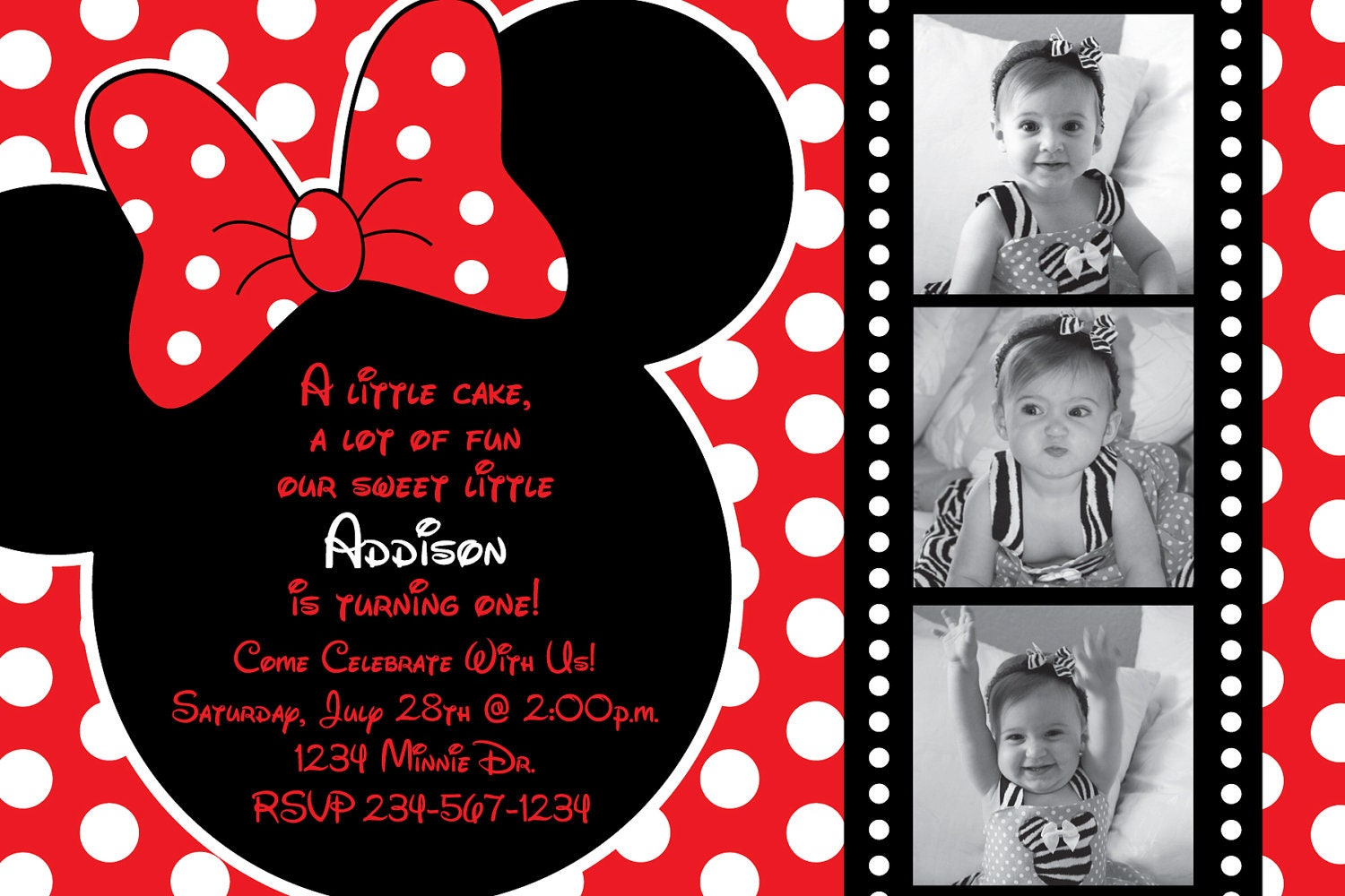 Custom Minnie Mouse Invitations as adorable invitations layout