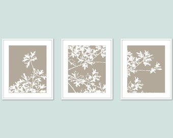 Autumn Tree Art Prints - Modern Nature Wall Art - Set of 3 Prints - Taupe Brown - Maple Tree Art - Woodland Home Decor - Neutral Color