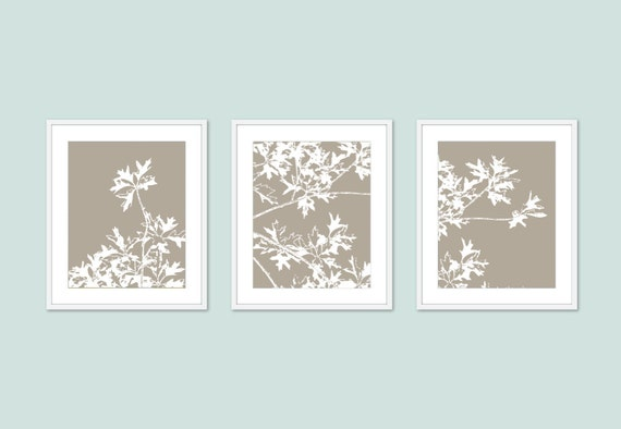 Wall Art Set Of 3 autumn tree art prints modern nature wall art set of 3