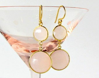 "LP 931  Stunning Rose Quartz Drop Earrings       "" One Of A Kind """