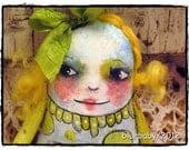 Art Doll , Folk Art Doll, OOAK Doll, Hand painted cloth doll
