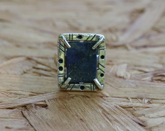Silver Ring, Lapis  Ring, Handmade Sterling Silver Ring, Rectangle frame Ring, Lapis Jewelry