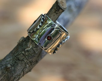Wide Ring ,Solid  Silver Ring, Garnet Ring, Handcrafted Ring, Sterling Silver  Ring, Statement Ring, Wide Silver Band,