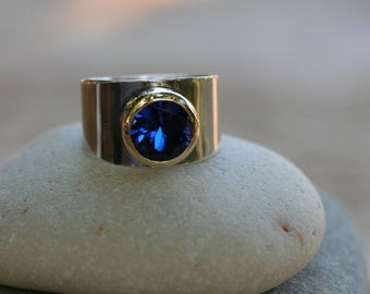 Silver ring , CZ Ring,  Blue CZ Ring, Silver and Gold Ring, Blue Stone Ring, Birthstone color,