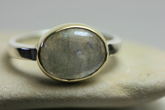 Labradorite  Ring Sterling Silver Ring Handmade Gold Setting