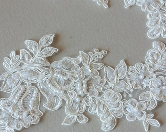 Ivory Bridal Lace applique - Appset-008 [Off White/light ivory]