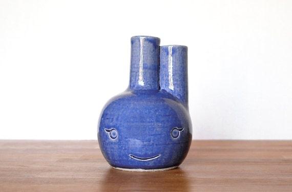 Ceramic Blue Beastie Bud Vase named Riley