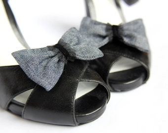 Shoe Clips - Navy Jean and Black Bows. Shoe Accessories. Handmade. OOAK. Upcycled Fabric.