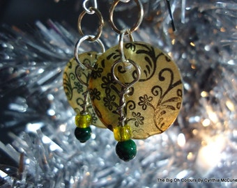 Hand Stamped Frenchwire Earrings Yellow and Green Floral