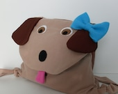 Kids Puppy Backpack with Turquoise Bow