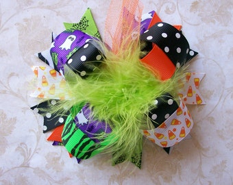 Themes of Halloween--- Hair Bow---Full Size 5.5 Inches Funky Fun Over the Top Bow---Candy Corns, Spiderwebs, Frankensteins, Ghost