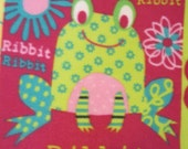 Frogs, Bugs, Snails Happily on Pink with Orange Fleece Blanket - Ready to Ship Now