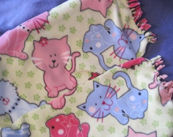 Cats in Pink and Blue on Green Fleece Scarf