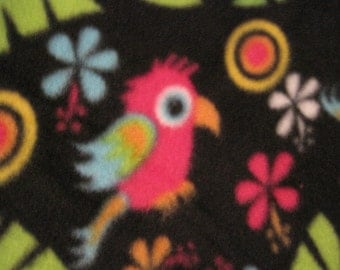 Birds on Black with Pink Handmade Blanket - Ready to Ship Now