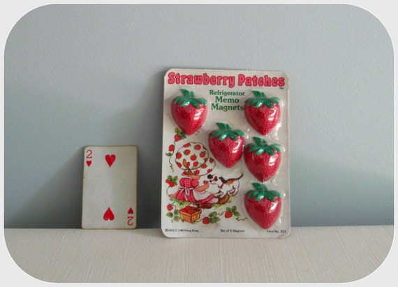 Strawberry Patches magnets, set of five, 1980 NOS
