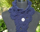 Hand crotcheted Navy Lace Scarf