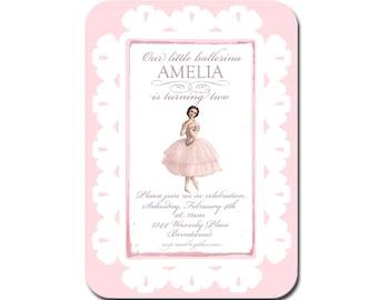 My Little Ballerina Vintage Invitations