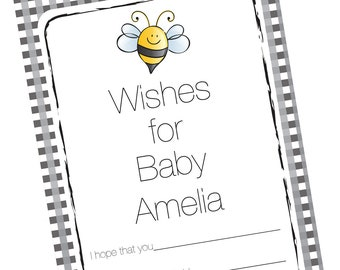 Baby Shower Well Wishes Cards, Advice, Wishes For Baby - Bumble Bee Theme - Mommy To Bee - Set of 12