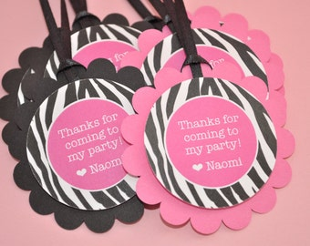 Zebra Stripe Favor Tags - Girl's 1st Birthday Party - Zebra Stripe - Pink, Black and White - Party Decorations - Set of 12