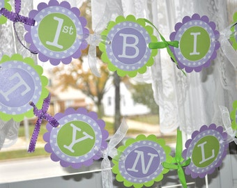 1st Birthday Banner - Polkadots Lavender Purple and Lime Green - Girls Birthday Party Decorations