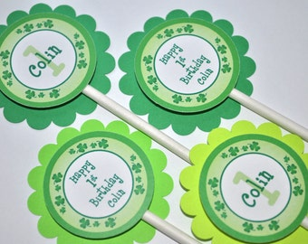 Cupcake Toppers - St. Patrick's Day Birthday Party Decorations- Shamrocks, Clovers, Green - Set of 12