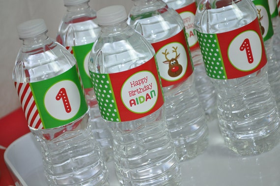 10 Reindeer Water Bottle Labels Holiday Winter Birthday Party
