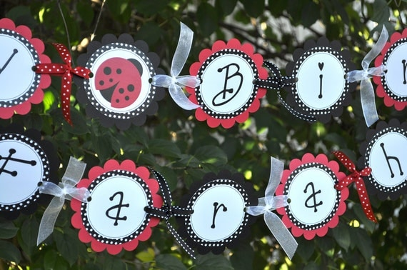 Ladybug Birthday Banner - Girls 1st Birthday Banner - Personalized Party Decorations - Ladybug Party Decorations