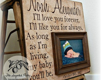 Baby Boy Frame Personalized 16x16 I'll LOVE YOU FOREVER Baptism Christening First Birthday Gift Godparents New Baby
