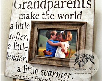 Grandparent, Gifts for Grandparents, Grandparent Gift, Granparents Picture Frame, Grandma, Grandpa, Grandparents Day, 16x16 Make the World