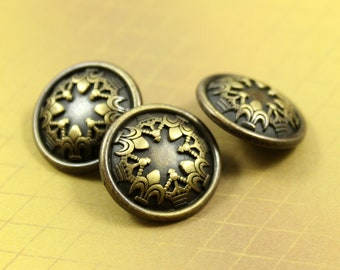 Metal Buttons - Trefoil Crowns Metal Buttons , Brass Color , Shank , 0.71 inch , 10 pcs