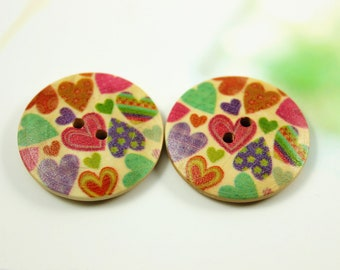 Wooden Buttons with Colorful Polka Heart Picture,  1.18 inch, 6 pcs,