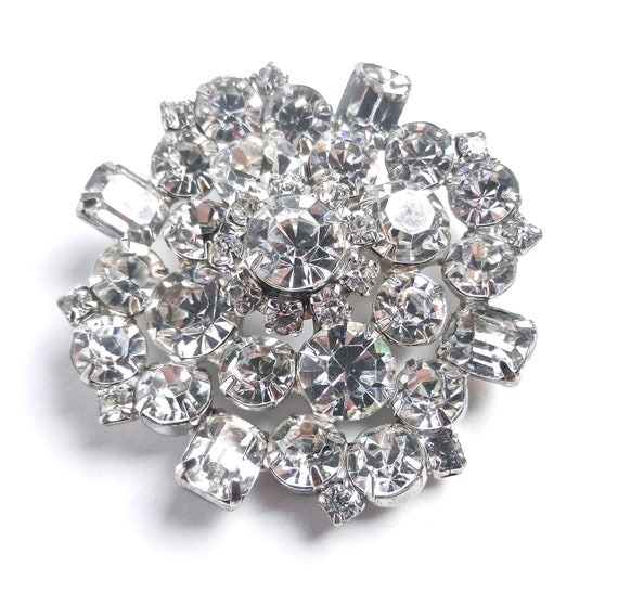 RESERVED for Sharon. Huge Rhinestone Brooch - Vintage 1950s Clear Glass Silver Tone Costume Jewelry  / Crystal Dome