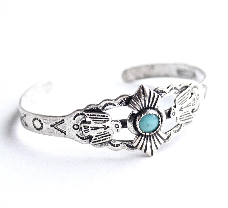 Vintage Sterling Silver Cuff Bracelet Tiny Xxs Turquoise
