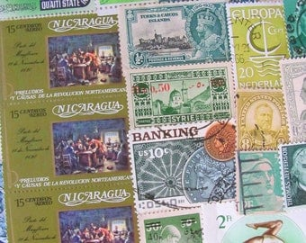 Shades of Green 100 Vintage Postage Stamps Lime Moss Jade Emerald Mint Spring Scrapbooking Ephemera Embellishments US Worldwide Philately 2